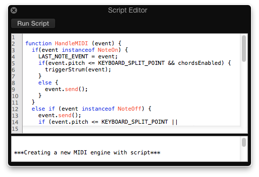 Logic Pro Scripter editor